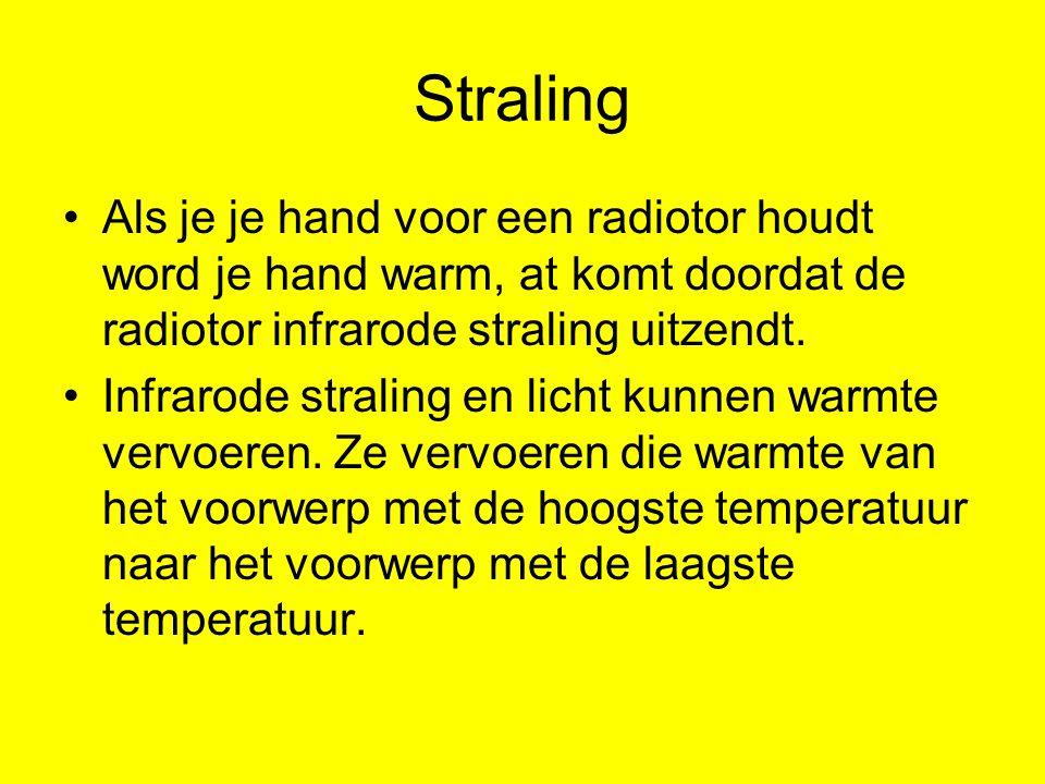 Straling Als je je hand voor een radiotor houdt word je hand warm, at komt doordat de radiotor infrarode straling uitzendt.