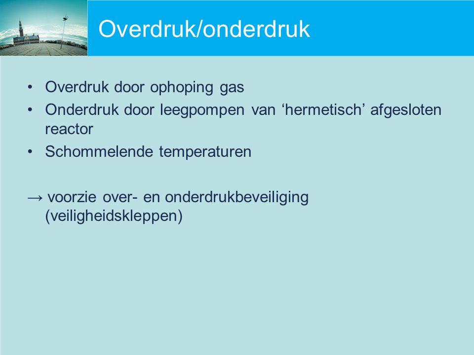 Overdruk/onderdruk Overdruk door ophoping gas