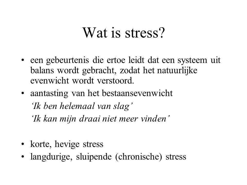 Wat is stress een gebeurtenis die ertoe leidt dat een systeem uit balans wordt gebracht, zodat het natuurlijke evenwicht wordt verstoord.