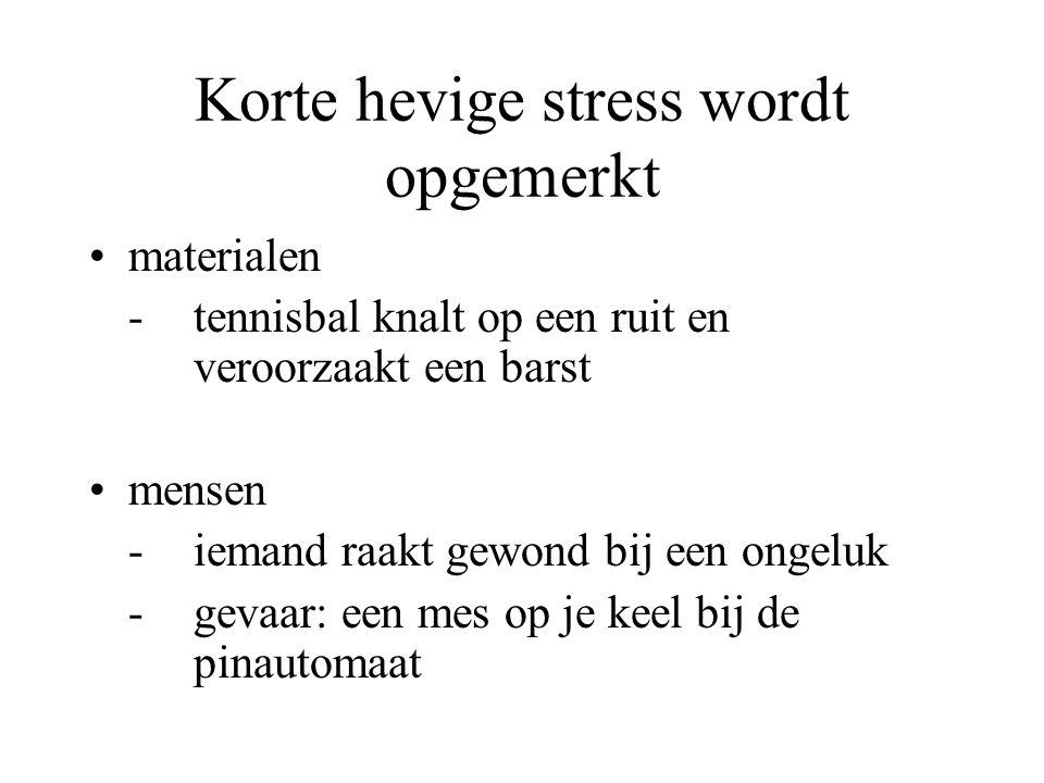 Korte hevige stress wordt opgemerkt
