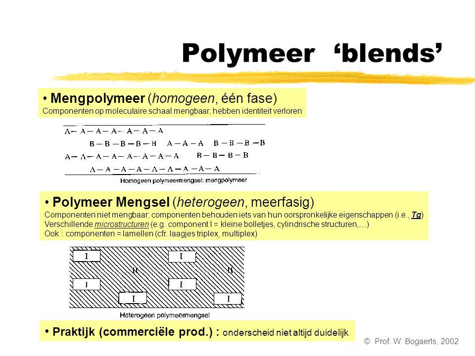 Polymeer 'blends' Mengpolymeer (homogeen, één fase) Componenten op moleculaire schaal mengbaar; hebben identiteit verloren.