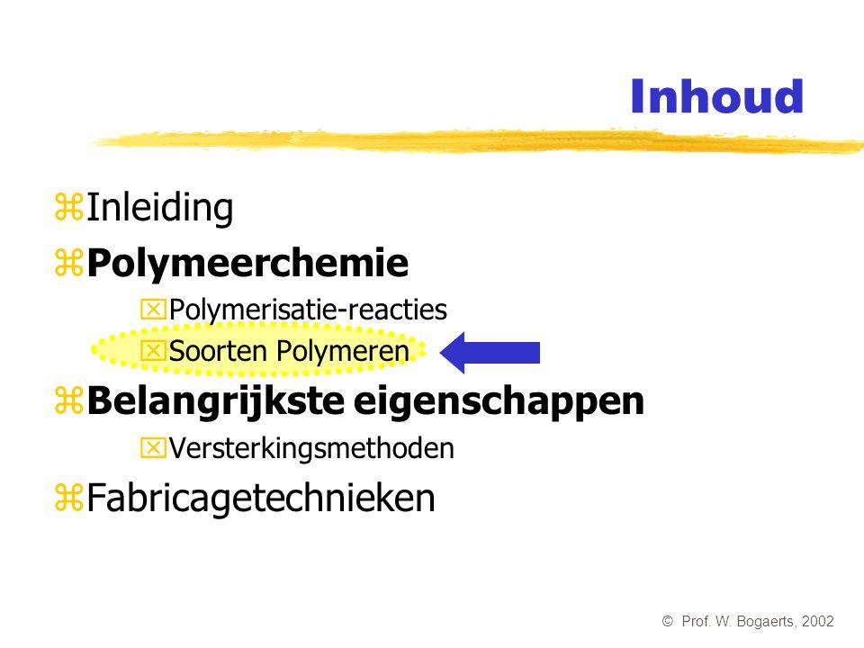 Inhoud Inleiding Polymeerchemie Belangrijkste eigenschappen