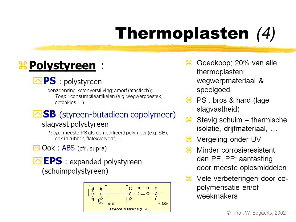Thermoplasten (4) Polystyreen : PS : polystyreen