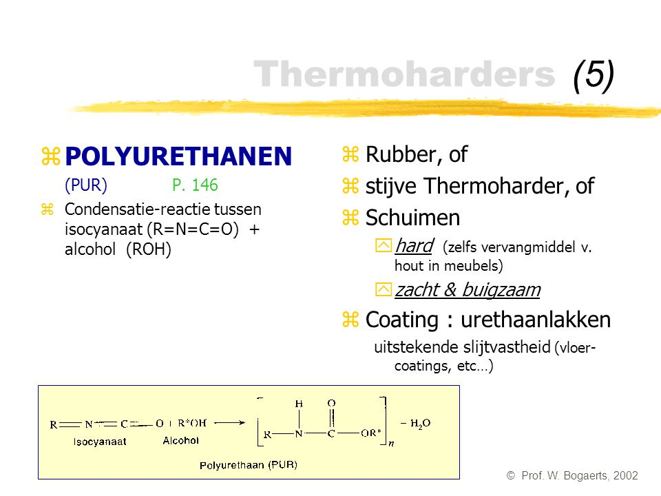 Thermoharders (5) POLYURETHANEN Rubber, of stijve Thermoharder, of