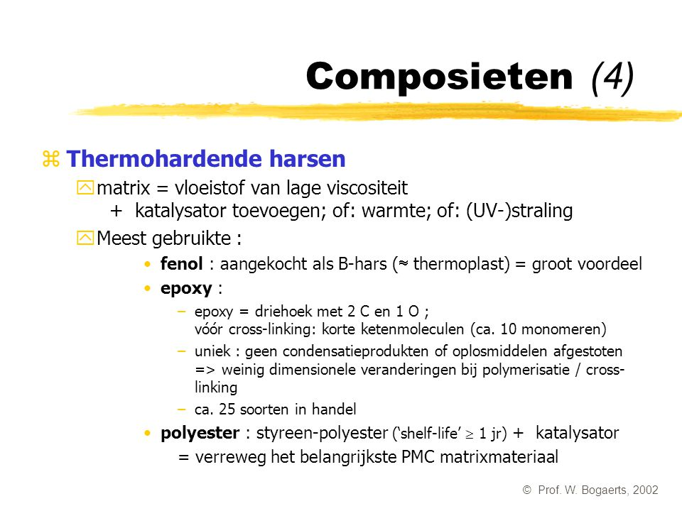 Composieten (4) Thermohardende harsen