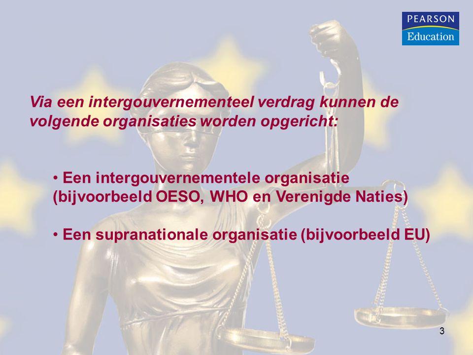 Via een intergouvernementeel verdrag kunnen de volgende organisaties worden opgericht:
