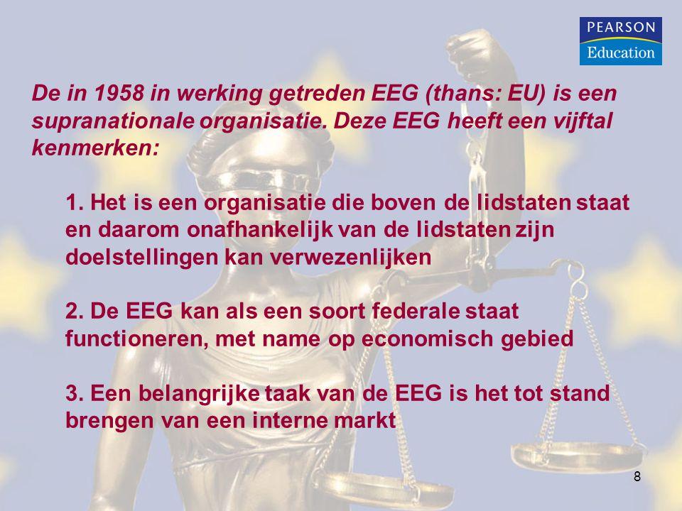 De in 1958 in werking getreden EEG (thans: EU) is een supranationale organisatie. Deze EEG heeft een vijftal kenmerken: