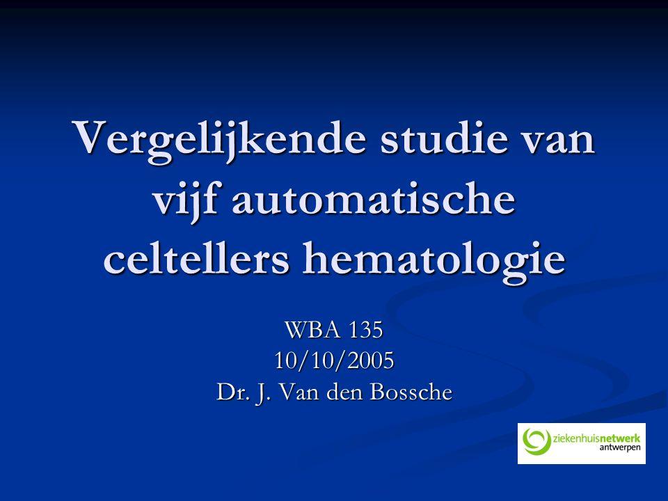 Vergelijkende studie van vijf automatische celtellers hematologie