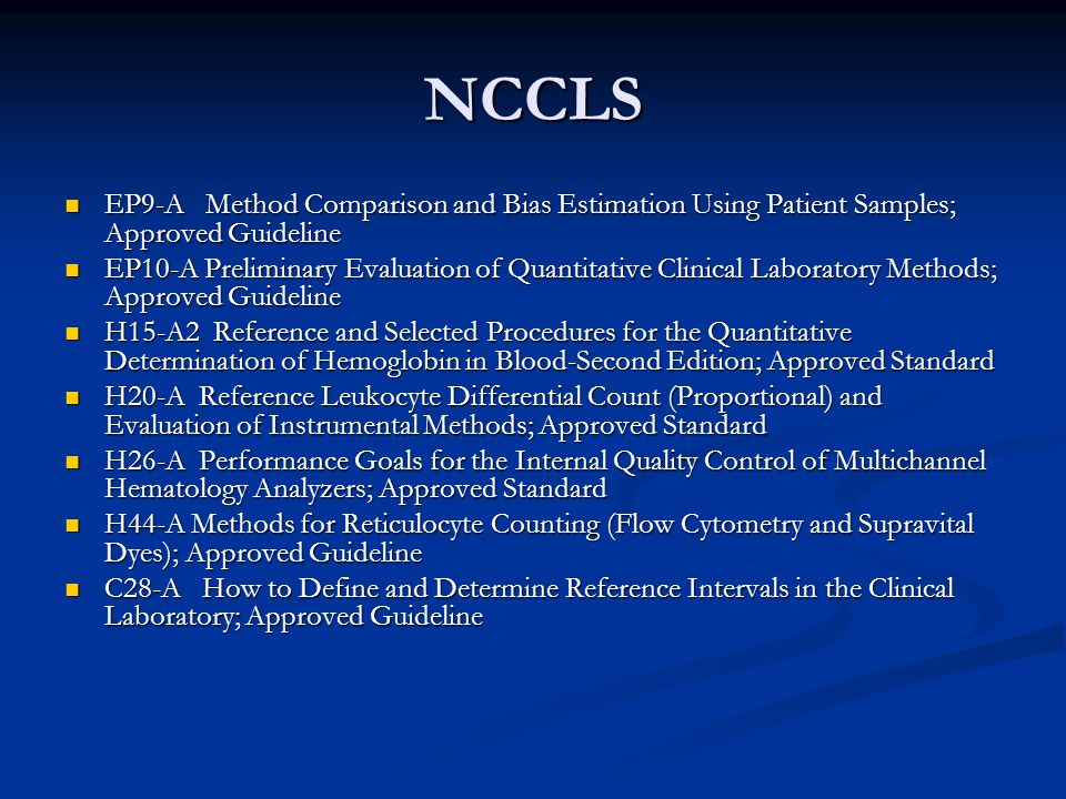 NCCLS EP9-A Method Comparison and Bias Estimation Using Patient Samples; Approved Guideline.