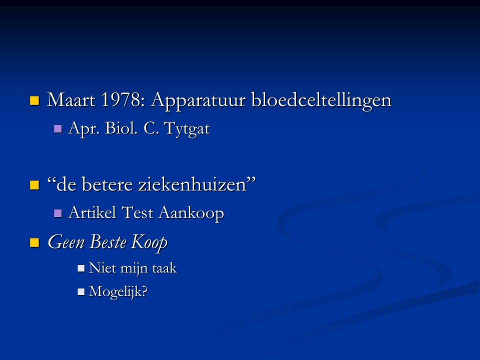 Maart 1978: Apparatuur bloedceltellingen