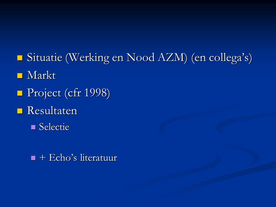 Situatie (Werking en Nood AZM) (en collega's) Markt Project (cfr 1998)