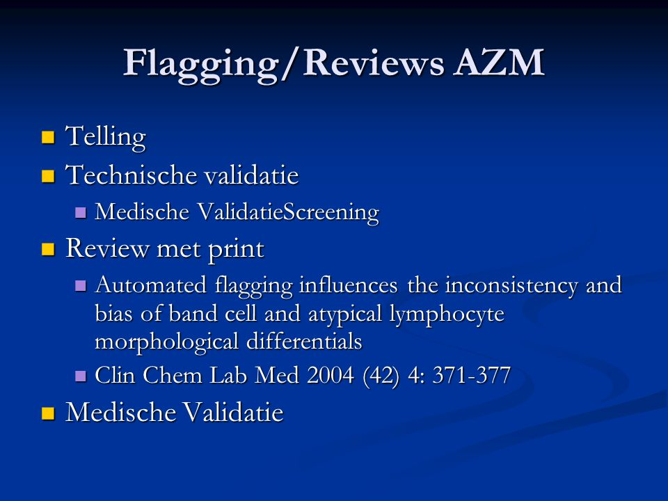 Flagging/Reviews AZM Telling Technische validatie Review met print