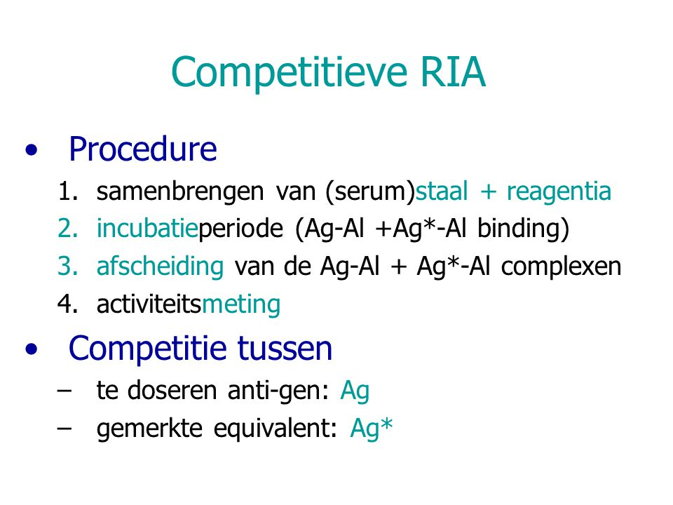 Competitieve RIA Procedure Competitie tussen