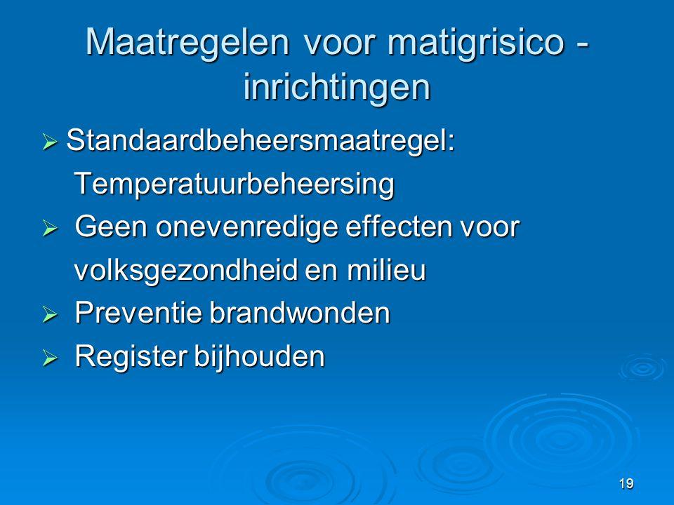 Maatregelen voor matigrisico - inrichtingen