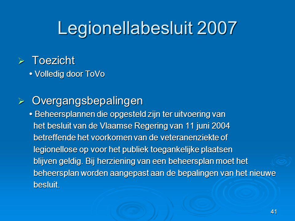 Legionellabesluit 2007 Toezicht Overgangsbepalingen