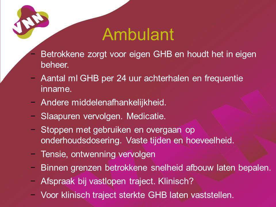 Ambulant Betrokkene zorgt voor eigen GHB en houdt het in eigen beheer.