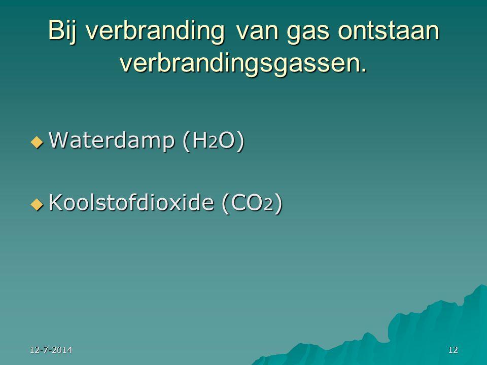 Bij verbranding van gas ontstaan verbrandingsgassen.