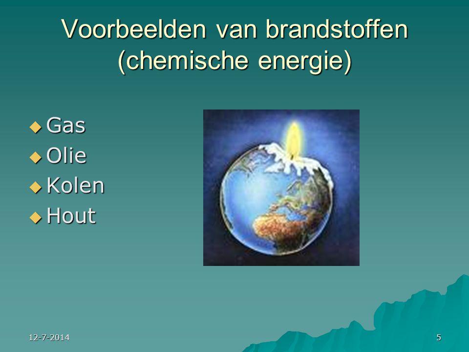Voorbeelden van brandstoffen (chemische energie)