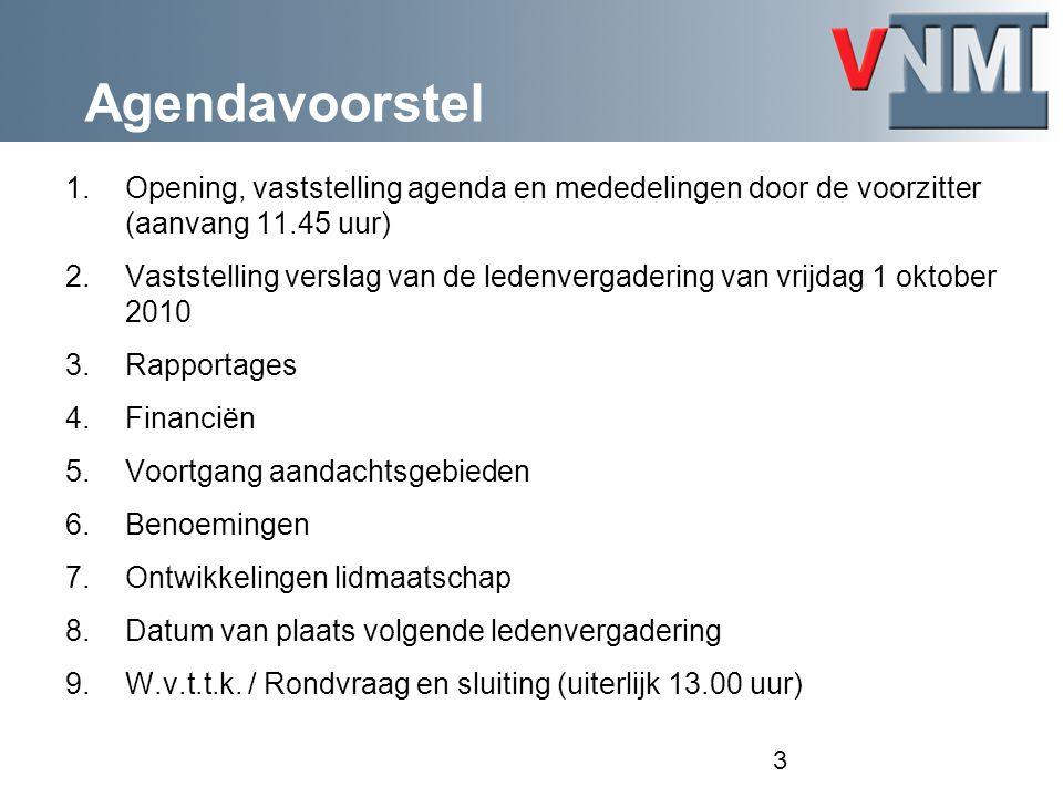 Agendavoorstel Opening, vaststelling agenda en mededelingen door de voorzitter (aanvang 11.45 uur)