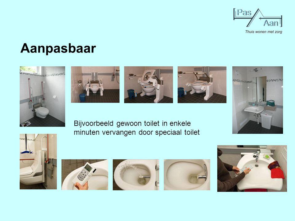 Aanpasbaar Bijvoorbeeld gewoon toilet in enkele minuten vervangen door speciaal toilet