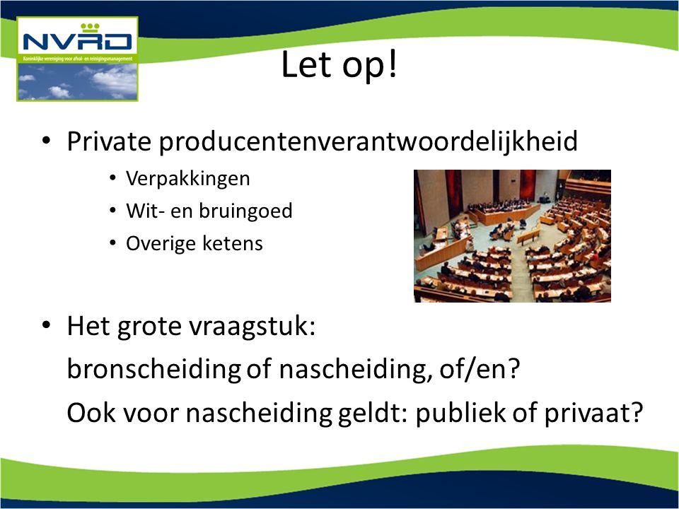 Let op! Private producentenverantwoordelijkheid Het grote vraagstuk: