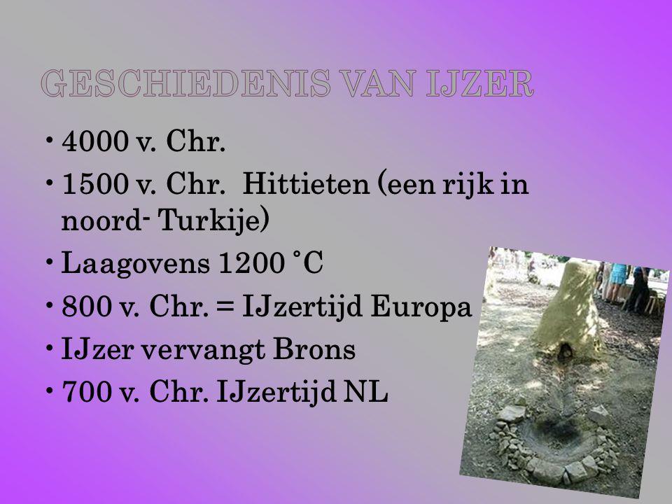 4000 v. Chr. 1500 v. Chr. Hittieten (een rijk in noord- Turkije) Laagovens 1200 ˚C. 800 v. Chr. = IJzertijd Europa.
