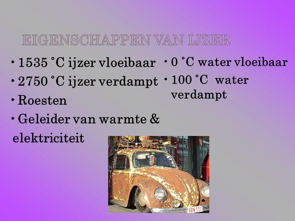 1535 ˚C ijzer vloeibaar 2750 ˚C ijzer verdampt Roesten
