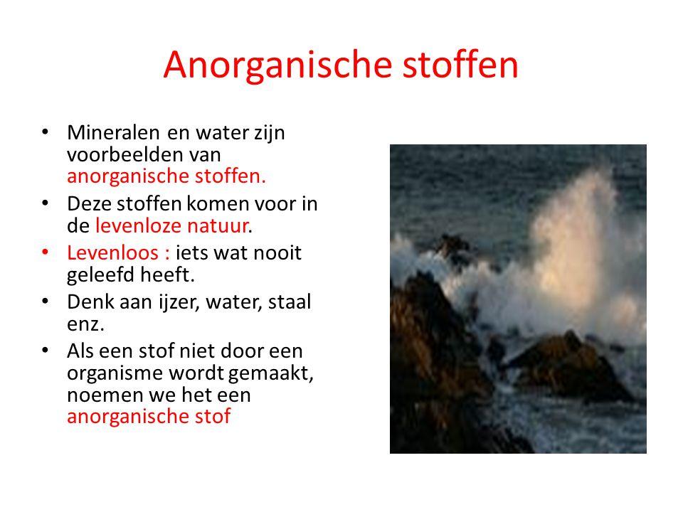 Anorganische stoffen Mineralen en water zijn voorbeelden van anorganische stoffen. Deze stoffen komen voor in de levenloze natuur.
