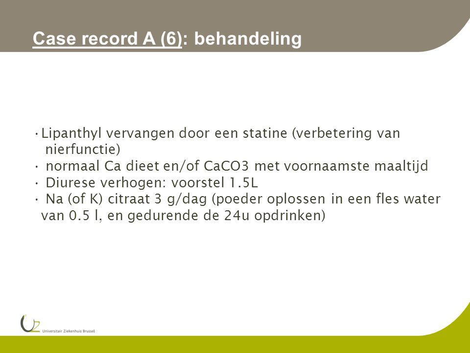 Case record A (6): behandeling