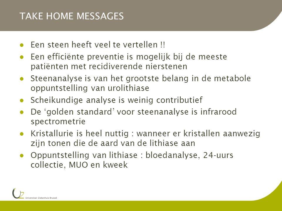 TAKE HOME MESSAGES Een steen heeft veel te vertellen !!