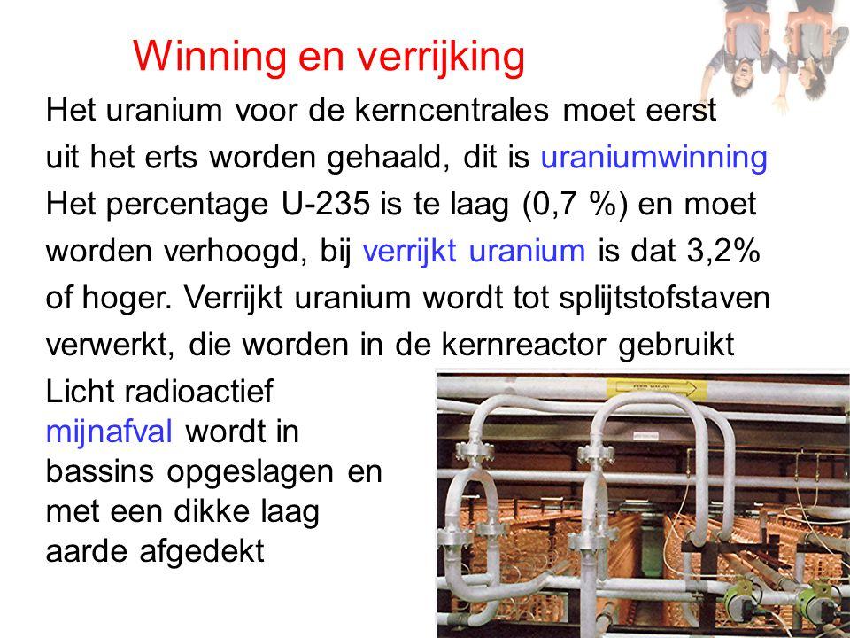 Winning en verrijking Het uranium voor de kerncentrales moet eerst