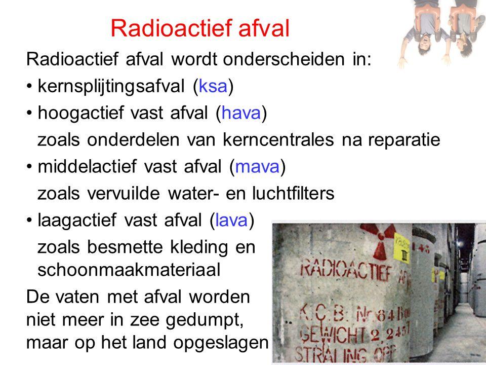 Radioactief afval Radioactief afval wordt onderscheiden in: