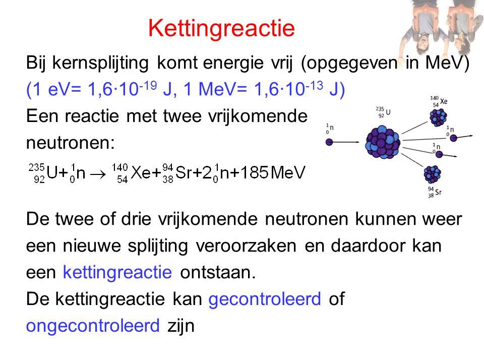 Kettingreactie Bij kernsplijting komt energie vrij (opgegeven in MeV)