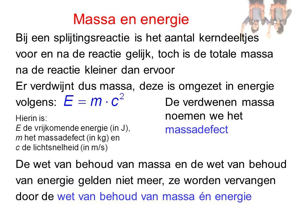 Massa en energie Bij een splijtingsreactie is het aantal kerndeeltjes