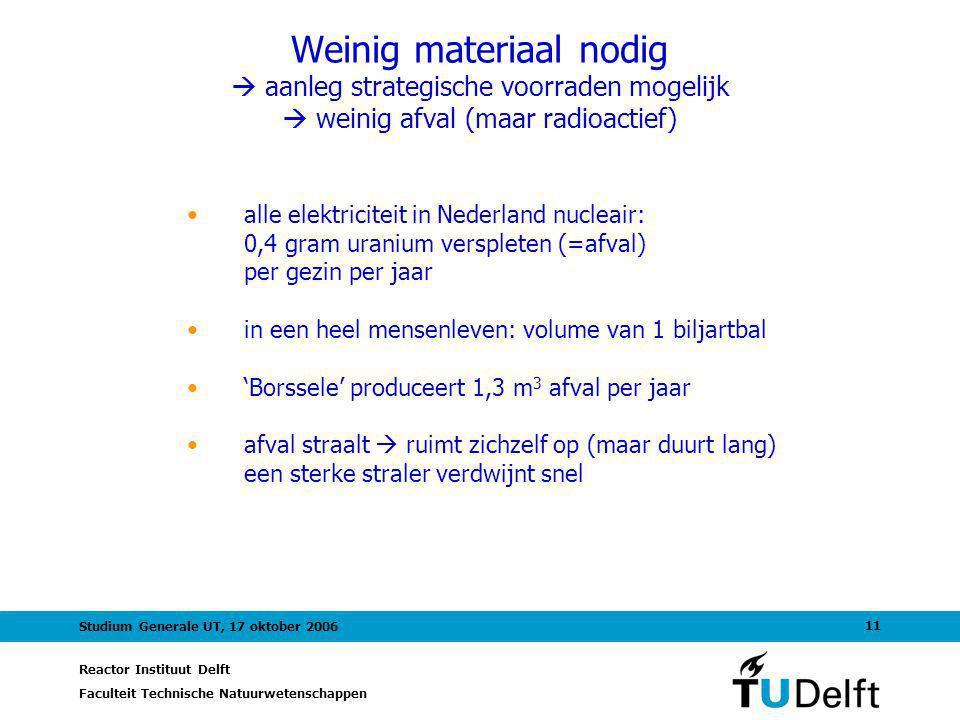 Weinig materiaal nodig  aanleg strategische voorraden mogelijk  weinig afval (maar radioactief)