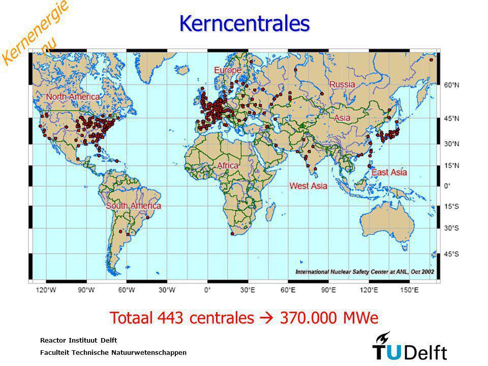 Kerncentrales Kernenergie nu Totaal 443 centrales  370.000 MWe