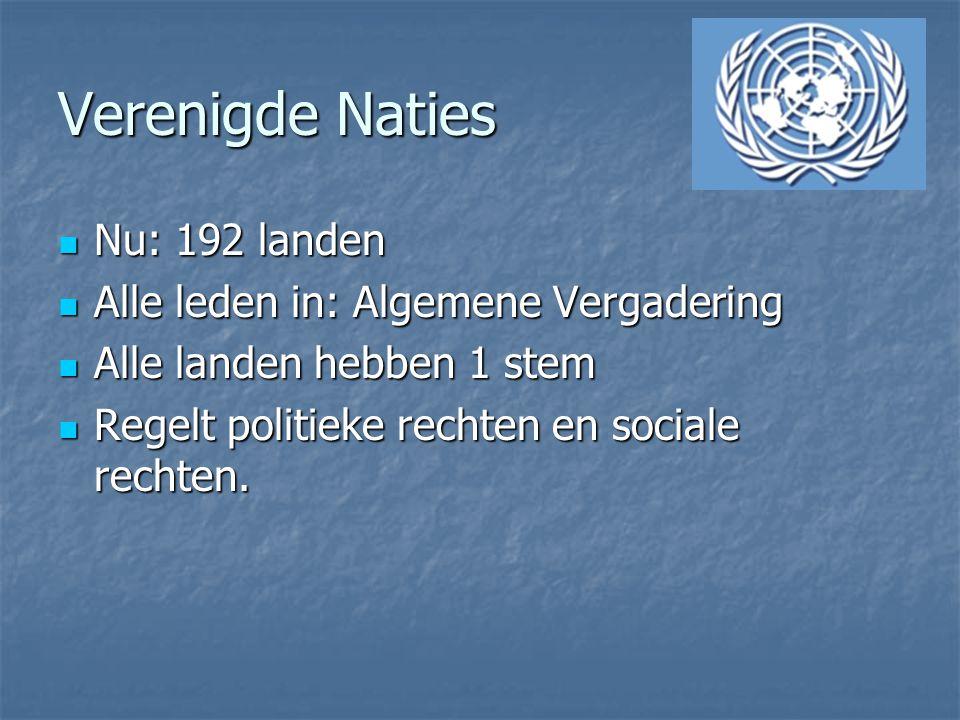 Verenigde Naties Nu: 192 landen Alle leden in: Algemene Vergadering