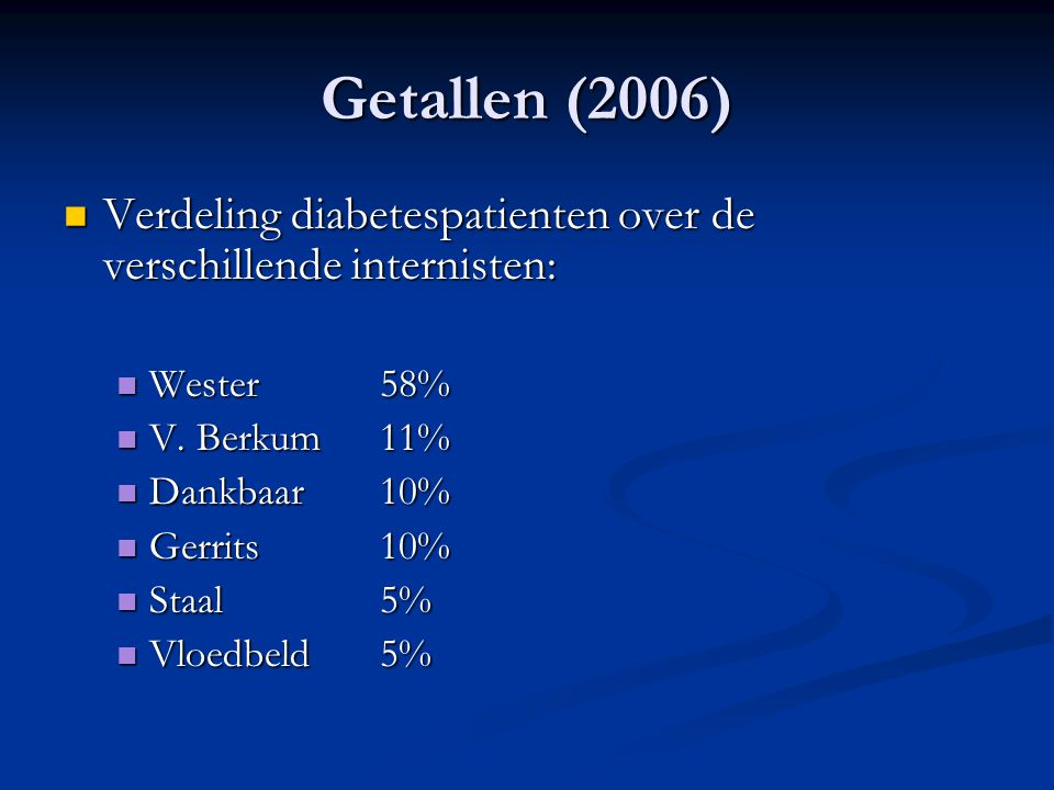 Getallen (2006) Verdeling diabetespatienten over de verschillende internisten: Wester 58% V. Berkum 11%