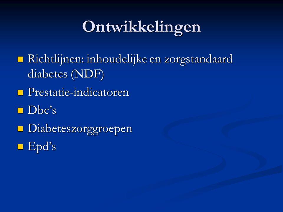 Ontwikkelingen Richtlijnen: inhoudelijke en zorgstandaard diabetes (NDF) Prestatie-indicatoren. Dbc's.