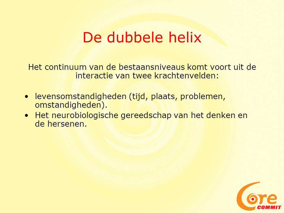 De dubbele helix Het continuum van de bestaansniveaus komt voort uit de interactie van twee krachtenvelden: