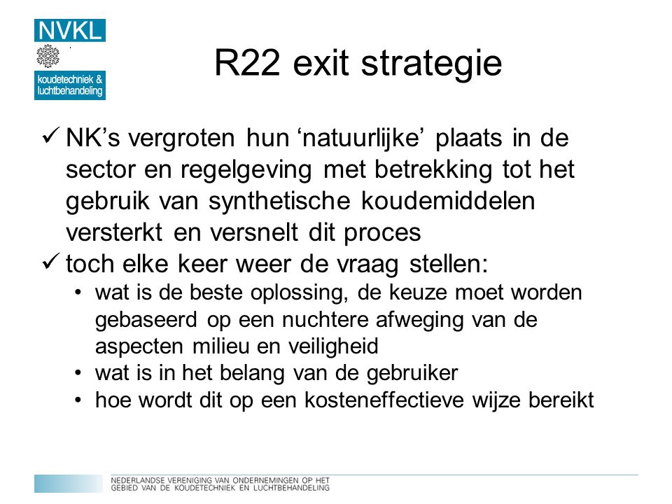 R22 exit strategie