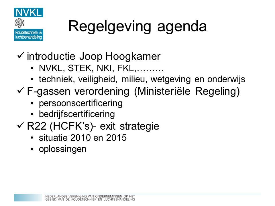 Regelgeving agenda introductie Joop Hoogkamer