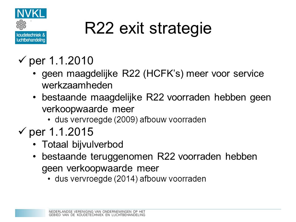 R22 exit strategie per 1.1.2010 per 1.1.2015