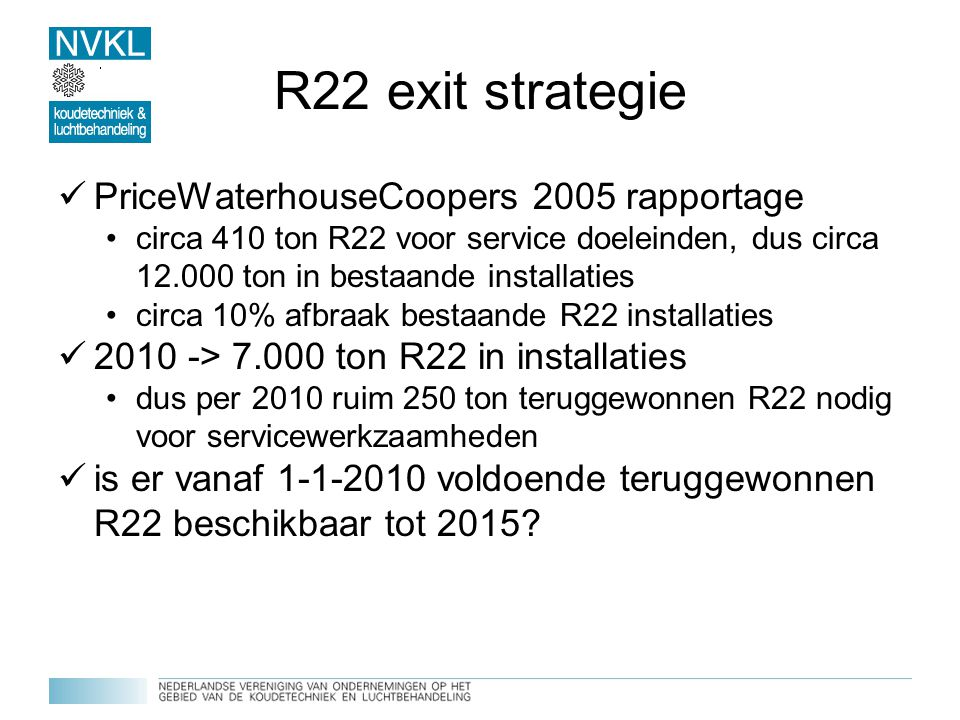 R22 exit strategie PriceWaterhouseCoopers 2005 rapportage