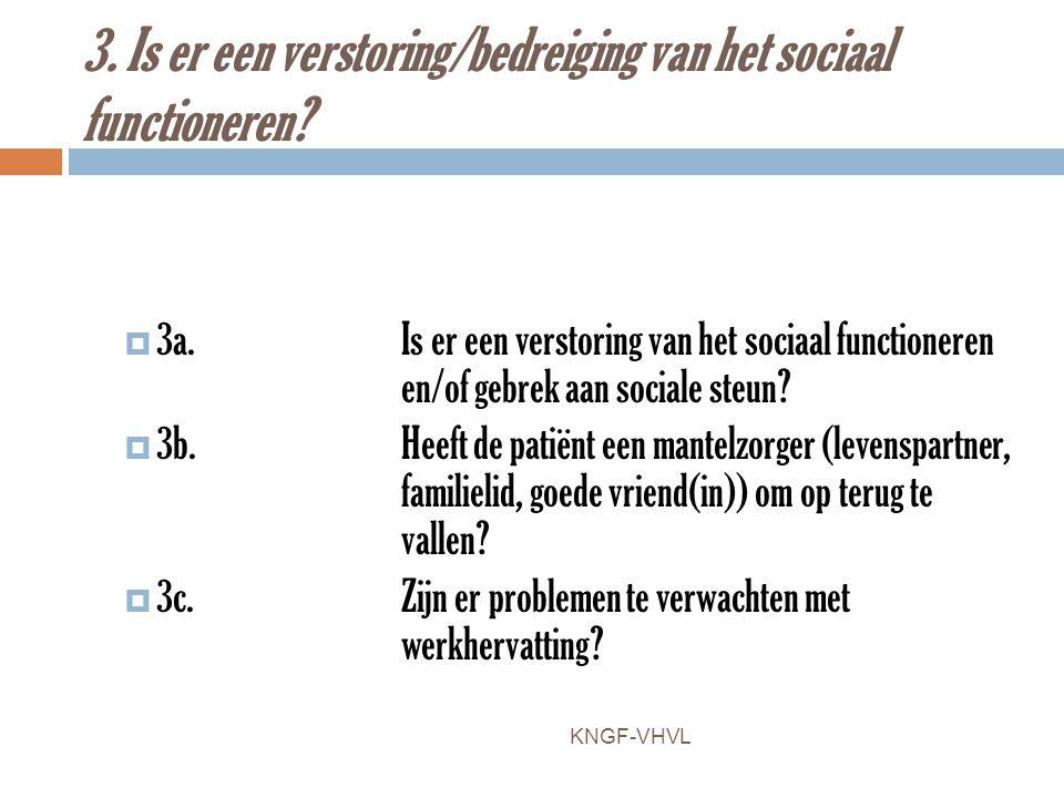 3. Is er een verstoring/bedreiging van het sociaal functioneren