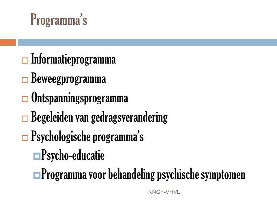 Programma's Informatieprogramma Beweegprogramma Ontspanningsprogramma