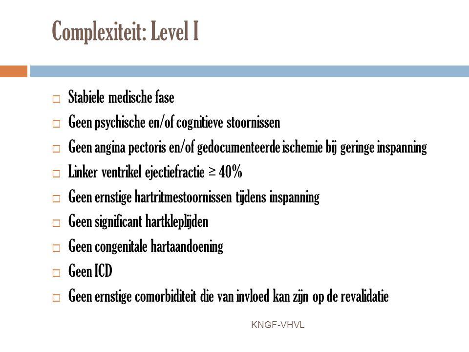 Complexiteit: Level I Stabiele medische fase