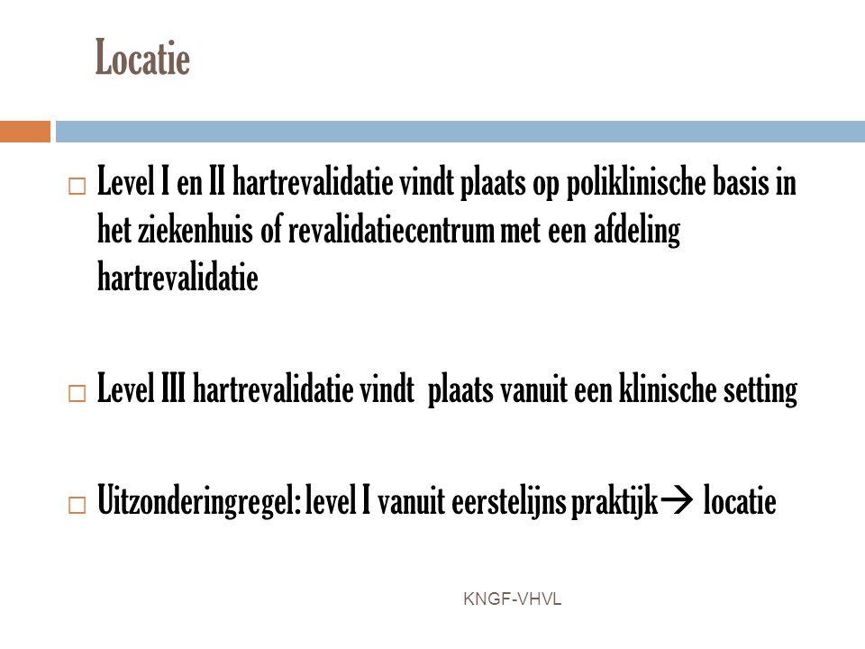 Locatie Level I en II hartrevalidatie vindt plaats op poliklinische basis in het ziekenhuis of revalidatiecentrum met een afdeling hartrevalidatie.