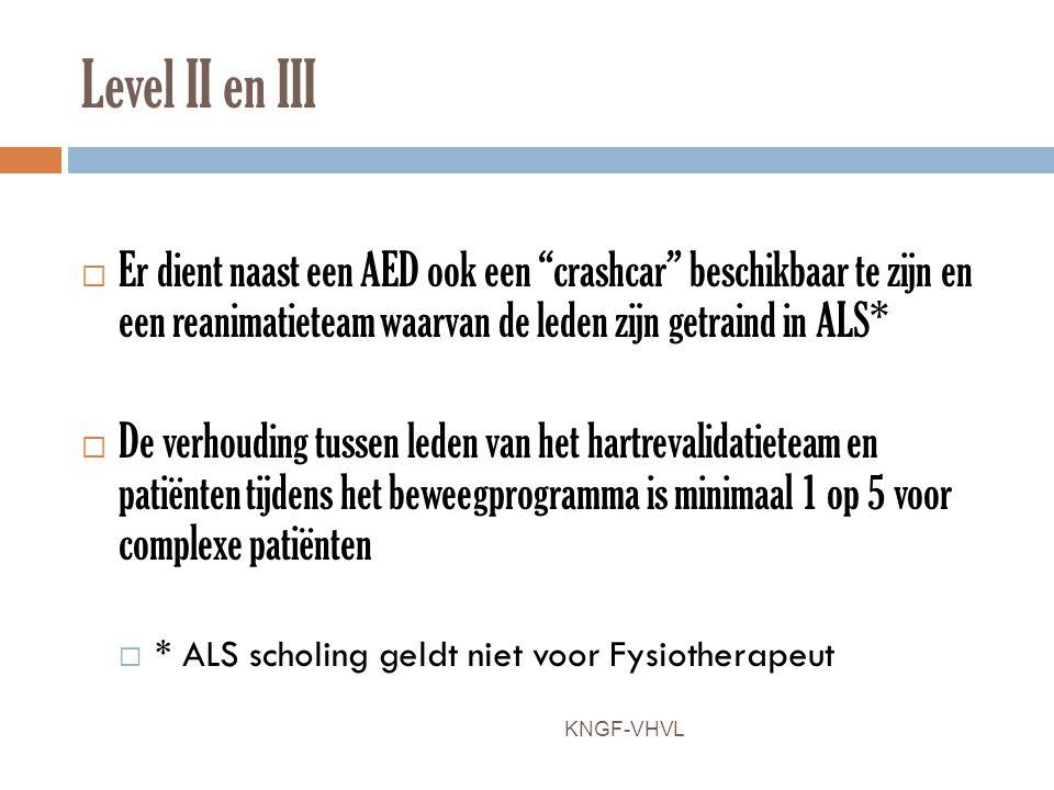 Level II en III Er dient naast een AED ook een crashcar beschikbaar te zijn en een reanimatieteam waarvan de leden zijn getraind in ALS*