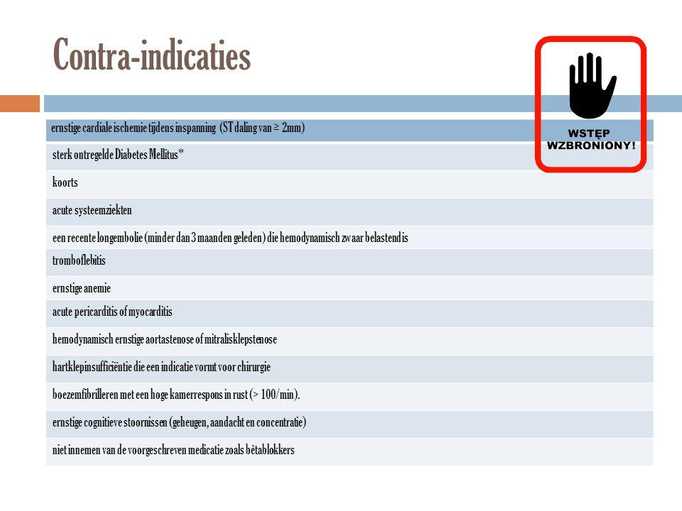 Contra-indicaties ernstige cardiale ischemie tijdens inspanning (ST daling van ≥ 2mm) sterk ontregelde Diabetes Mellitus*